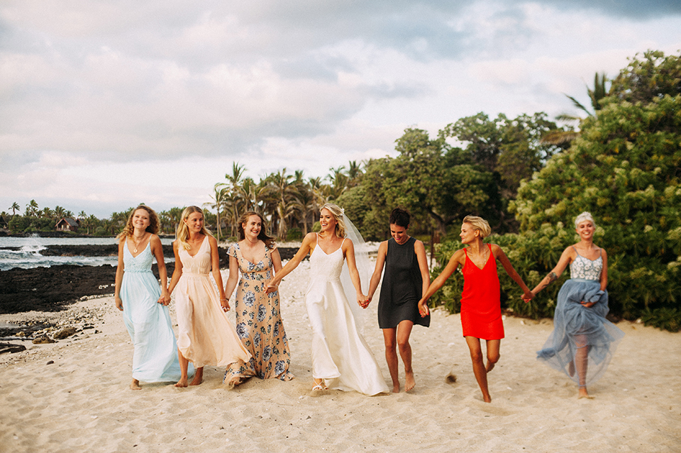 Girlfriends in Hawaii Wedding